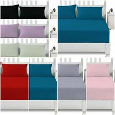 Deep Fitted Bed Sheet Set 100% Polycotton 12''/30 cm elastic straps pillow cases