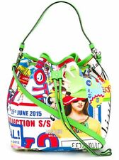 MOSCHINO Couture Jeremy Scott POWERPUFF GIRLS Graphic Print Tote Bucket Bag LMT