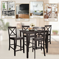 Square Dining Table Durable W/ Rubber Wood Legs Kitchen Home Furniture Espresso