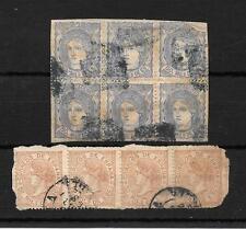 España. Ficha con tira de 4 del sello nº 96 y bloque de 6 matasello azul