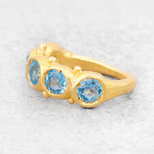 Gold Aquamarine Ring For Women Dainty Silver Cocktail Ring Minimalist Art Deco