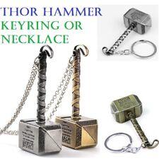 Marvel Thor Hammer Keyring Chain NeckLace Pendant Avengers Norse Mythology Hero