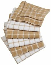 6 Pcs Kitchen Dish Towel Set Ultra Absorbent Cloths Windowpane Brown Towels