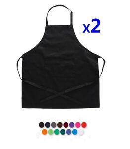 2x Plain Apron Bib Washable Pocket Butcher Waiter Chef Kitchen Cooking Craft