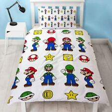 NINTENDO SUPER MARIO STACK SINGLE DUVET COVER SET REVERSIBLE KIDS