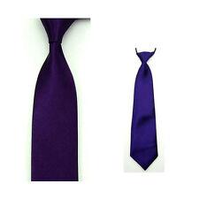 Men Thin Self Tied Necktie Boy Child Stretchy Neckwear Solid Color Satin Tie Set