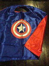 Kids Adult SuperHero Captain America Satin Cape Costume Fancy Dress Up Gift FUN