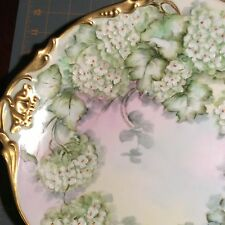 Elite France Limoge Plate With Hydrangeas  M. Shapcott Charger Hand Painted 1906