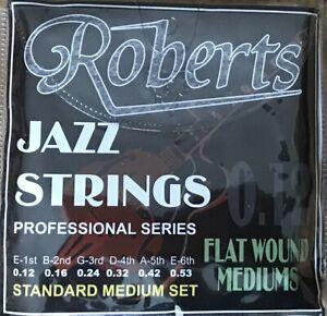 THREE SETS OF ROBERTS FLAT WOUND JAZZ GUITAR GUITAR STRINGS / 12-53
