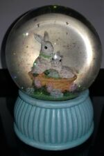Easter Bunny Bunnies in Basket Musical Mechanical Snow Glitter Globe Dome Used