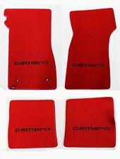 NEW! 1967-1969 Camaro Floor Mats RED Set Carpet Embroidered Script logo on All 4
