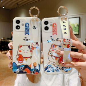 Cartoons Cute Cat Fall Proof Phone Case For iPhone 11 12 Pro Max Wrist Band