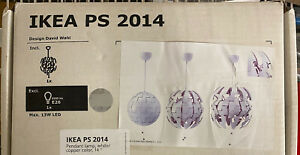 """NEW IKEA PS 2014 Pendant Lamp 14"""" Diameter White/Copper Color - bulb excluded"""
