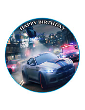 NEED FOR SPEED Circle Cake Topper Image Personalised Birthday Decoration