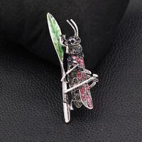 Betsey Johnson Enamel Crystal Locust Grasshopper Charm Animal Brooch Pin Gift