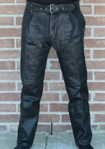 MEN RIDING BIKER MOTORCYCLE  LEATHER CHAPS S-6XL
