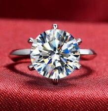 4 Ct Round Cut Moissanite Diamond Solitaire Engagement Ring 925 Sterling Silver