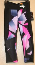 Women FILA SPORT Black & Med Purple Colorblock Active Capri Yoga Leggings Small