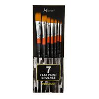 7pcs Flat Paint Brushes Set Short Handle for Oil Acrylics Watercolor and Gouache