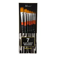 MEEDEN Flat Paint Brushes Set Golden Nylon for Oil Acrylics and Gouache Set Of 7