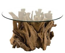 "Driftwood Round Cocktail Coffee Table Glass Top 36""D Natural Teak Wood New"