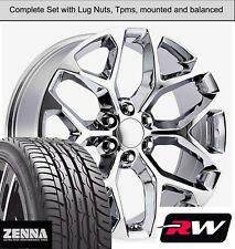 "20 x9"" inch GMC Sierra 1500 Snowflake Style Wheels Chrome Rims Tires fit Tahoe"