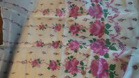 "Vintage SEMI-SHEER NYLON FABRIC SHADES PURPLE PINK FLORAL BOWS 1 Yd/38"" Wide"