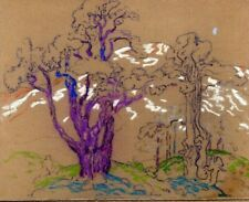 HENRY JAMES SOULEN original drawing gouache on sandpaper estate stamped