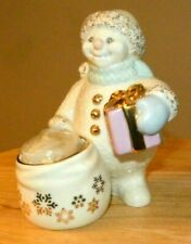Lenox Snowman Figure with a Gift and Candle - Snowman's Glow
