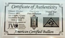 ACB Palladium 5GRAIN SOLID BULLION MINTED BAR 99.9  Pure PD With COA V260