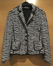 Size 12 Black And White Striped Jacket Blazer Coat Jumper Collar Shoulder Pads
