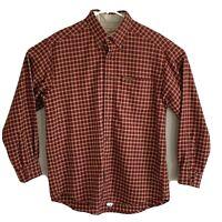 Woolrich Men's L Button Down Shirt Red Beige Multi Plaid Wool Blend Long Sleeve