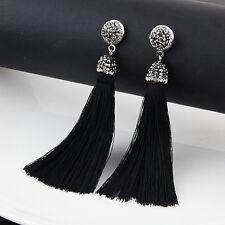 Vintage Fashion Women Bohemian Fringe Long Tassel Crystal Hook Dangle Earrings