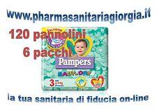120 PANNOLINI PAMPERS BABY DRY TAG.3 MIDI (4-9 KG) 6 PACCHI DA 20 PEZZI CAD.U