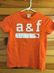 Abercrombie & Fitch Kids Muscle Orange Logo Shirt Boys Top Size S