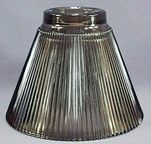 Vintage Smoke Gray Ribbed Vanity Light Replacement Shade