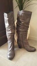 As New SZ 37 Grey Genuine Leather  Medium Heel Boots Buy Any 3=Free Post