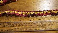 "2 Antique Vintage Crocheted TRIM PIECE Edging, Red & Gold 48""x5/8"","