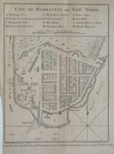 Original 1861 Hayward Lithograph of Bellin's 1764 CITY OF MANHATTAN Battery Map