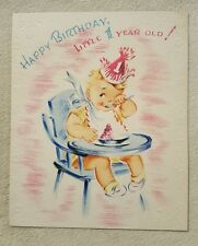 Vintage Greeting Card Happy Birthday 1 year old baby Pastel Card Doubl Glo