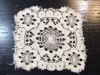 Vintage Doilie Hand Made Doily Crochet Table Lace Dresser Scarf Staging 0320
