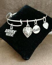 Expandable Silver Colored Handmade Bangle Charm Bracelet ARMY WIFE  MILITARY