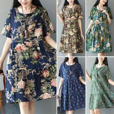 Women Summer Plus Size Short Sleeve Floral Print A-Line Mini Dress Sundress Tops