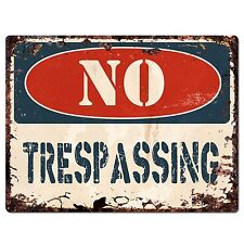 PP1372 NO TRESPASSING Plate Rustic Chic Sign Home Store Shop Decor Gift