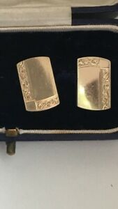 Antique 9ct Gold Cuff Links Gold On Silver 9 Carat Gold on Sterling Silver SALE