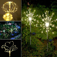 Solar Powered Garden Path Lights Starburst LED Stake Firework Light Outdoor NEW
