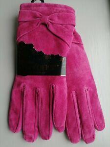 Totes Isotoner Ladies Rich Magenta Pink Suede Luxury Gloves