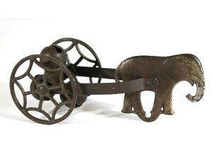 ca1900 CAST IRON ELEPHANT BELL TOY / PULL TOY BY WATROUS MANUFACTURING COMPANY