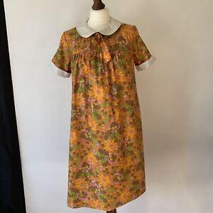 Vintage 60's 70's Handmade Floral Dress Size 10 - 12 Orange Retro Print Collared