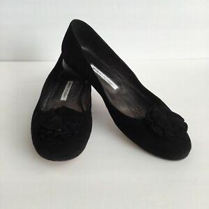 Manolo Blahnik Ballet Flats Loafers Black Suede Flower Shaped Bow Size 41
